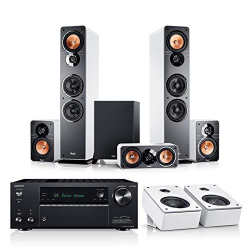 Teufel Ultima 40 Surround AVR für Dolby Atmos 5.1.2-Set Weiß / Weiß / Schwarz Heimkino Lautsprecher 5.1 Soundanlage Kino Raumklang Surround HiFi