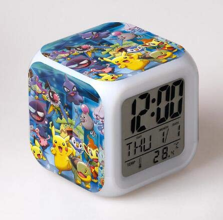 sensenyouni Kids LED 7 Color Anime Pocket Monster Pikachu Pokemon Flash Digital Alarm Clocks Night Light Bedroom Clock reloj despertador,White