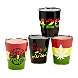 FASHIONCRAFT Set of 4 Roast and Toast Shot Glasses – Tequila Glass, Fancy Shot Glasses