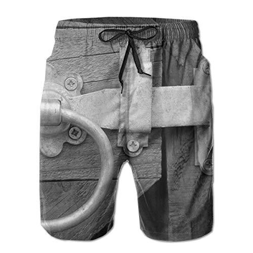 Jiger Swim Trunks Summer Cool Quick Dry Board Shorts Bathing Suit, Grayscale Foto van Deur Knock, Beach Swim Trunks
