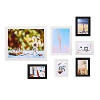 フォトフレーム 7個/セットフォトフレーム5/7/10インチ壁掛け家族の思い出アート写真写真ホームオフィスホテルの装飾 おしゃれ プレゼント ギフト 記念品 (Size:Free Size; Color:Black)
