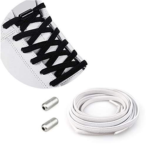 Cordones Elásticos Sin Nudo para Hombres Mujeres Niños | Cordones de Zapatos/Cordones Zapatillas Deporte Cordones Elásticos de Goma con Hebilla Metal [No es Necesario Atar los Cordones de los Zapatos]