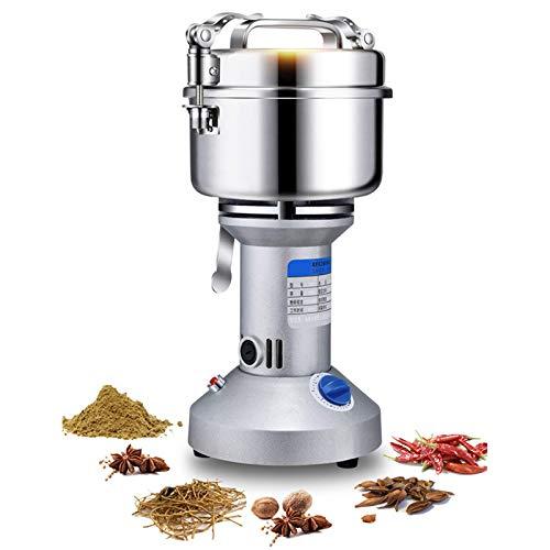 Molinillo eléctrico de granos 750STAINLESS Acero inoxidable Pulverizador de hierbas de especias mejorado de alta velocidad Máquina trituradora en seco de cereales de malla 70-300, segura y conveniente
