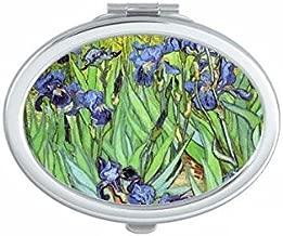 DIYthinker Pintura al óleo de Colores Campo de Flores Abstracto del Paisaje ilustrado Modelo Oval Maquillaje Compacto Espejo de Bolsillo portátil pequeño Linda Mano Espejos Regalo