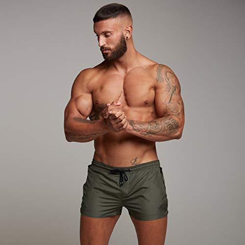 EDOTON Bañador para Hombre, Pantalones Cortos Impermeables Pantalones Cortos de Surf Pantalones de Natación (EU L/Tag XL, Ejercito Verde)