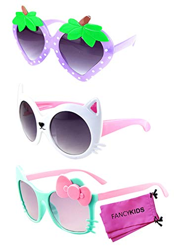 FANCYKIDS Kids Cat Strawberry Shaped Sunglasses for Toddler Girls Age 3-10 (3 Pack (H))