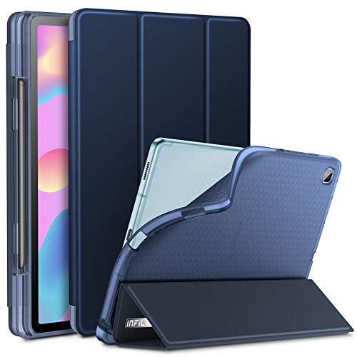 INFILAND Galaxy Tab S6 Lite Case with S Pen Holder, Tri-Fold Case with Frosted Translucent Back Fit Samsung Galaxy Tab S6 Lite 10.4 SM-P610/P615 2020 Tablet [Support Auto Wake/Sleep], Navy