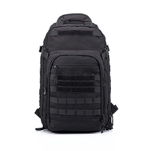 Yakeda A88034 Outdoor-Umhängetasche, Rucksack, Berg-Tasche, Camouflage-Optik, taktischer Rucksack, Camping, Reisetasche, für Reisen, militärisch, zum Wandern, für Trekking, Tasche, 60 l, schwarz