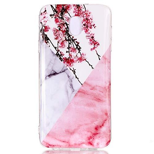 ZAORUN Cubiertas Protectoras de Cellphone Funda de TPU Suave con patrón de mármol Compatible for Galaxy J3 (2018) (Flor del Ciruelo) (Color : Plum Blossom)