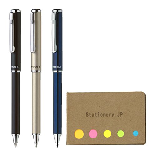 Zebra SL-F1 Mini Telescopic Ball Point Pens, 0.7mm, 3 Body Colors (Black/Silver/Navy), Sticky Notes Value Set
