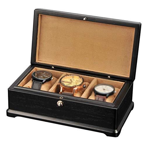 H.yina Uhrenbox für Herren - 3 Uhren Slots Schmuck Organizer Holz Aufbewahrungsvitrine mit 3 Aufbewahrungskissen zum Entfernen