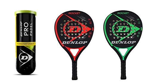Dunlop - Juego de raquetas de padel Rocket rojo y verde + 3 pelotas Dunlop Pro