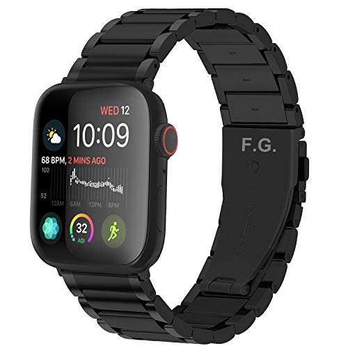 GerbGorb Correa de Metal para Apple Watch 42mm 44mm 38mm 40mm, iWatch Banda de Acero Inoxidable Serie 6/5/4/3/2/1【Negro 42mm】