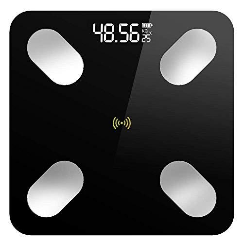 BINGFANG-W Discs Waage Bluetooth Waage, Bodenkörpergewicht Personenwaage, Smart-Backlit Display-Skala, Körpergewicht Körperfett Wasser Muskelmasse Bmi Abrasive