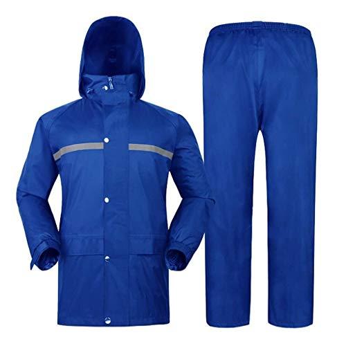 YDS SHOP Mannelijk/vrouwelijk waterdicht pak (regenjas + regenbroek), ski-jas met ademende mesh voeringcapuchon, geschikt voor buitenwerk zoals wandelen en jagen L #C