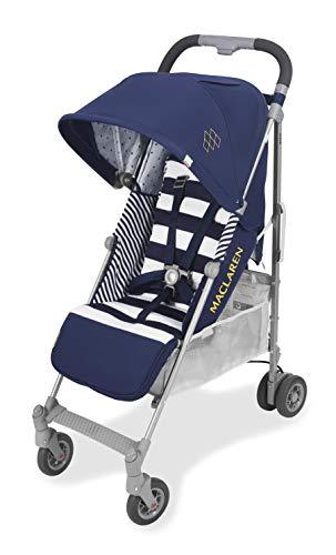Maclaren Quest arc Silla de paseo, ligero, manillar unido para recién nacidos hasta los 25 kg, Asiento multiposición, suspensión en las 4 ruedas, Azul (Regency Stripe)