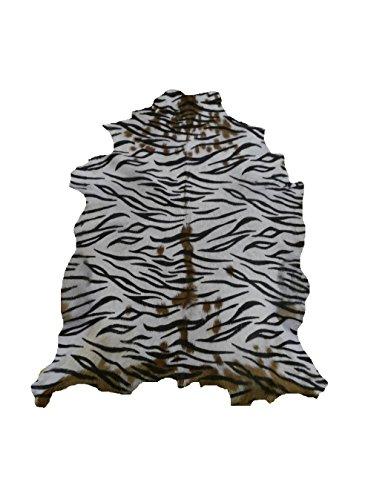 Zerimar Alfombra Piel de Cabra Natural Premium | Medidas: 95x80 cms | Estampada imitación Tigre | Alfombra Salón | Alfombra Salón Grandes | Alfombras de Pelo