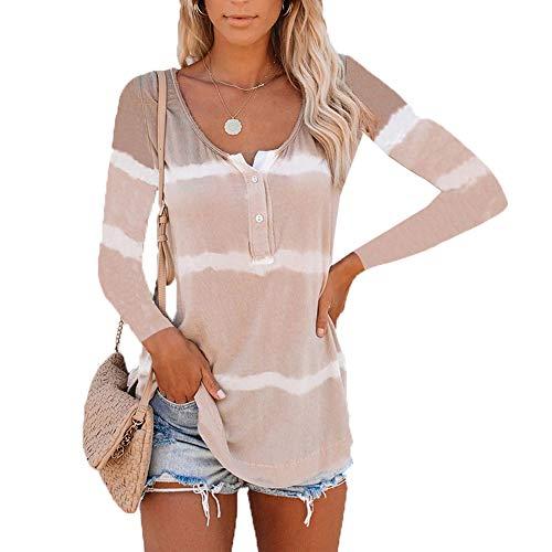 Herbstliche Tie-Dye-Druck HeißE Verkaufsknopf LangäRmelige Gestreifte T-Shirt Frauen