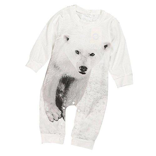 kingko® Beau nouveau-né de bébé d'enfants Garçon Fille infantile Ours Imprimer manches longues Romper Jumpsuit Vêtements (9M)
