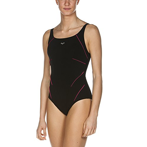 ARENA Damen Bodylift Badeanzug Jewel C-Cup, Black-Rose Violet, 38
