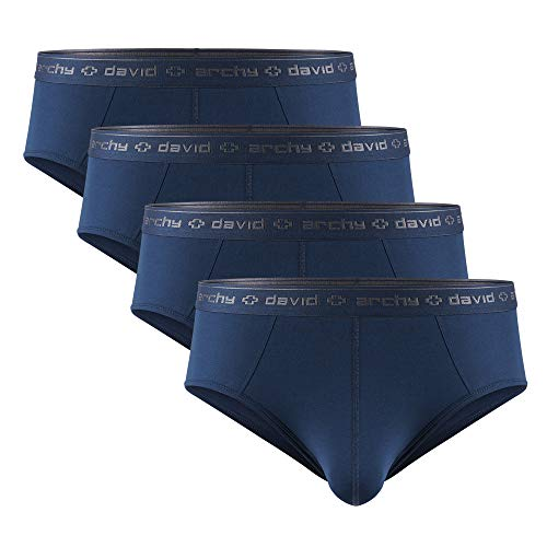 DAVID ARCHY Men's 4 Pack Micro Modal Separate Pouch Briefs with Fly (XL, Navy Blue)