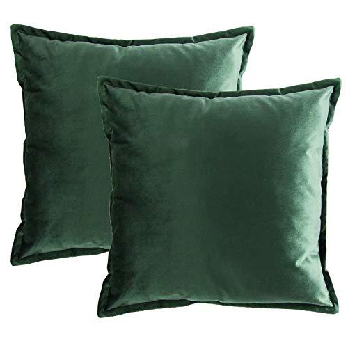Bedsure Kissenhülle 40x40 Dunkelgrün Doppelpack, Kissenbezug 40 x 40 cm aus samt Mikrofaser, dekorative Kissenbezüge 2er Set weich und atmungsaktiv