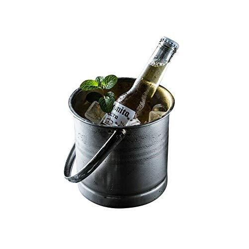 Secchiello for ghiaccio in acciaio inox, adatto for cubetti di ghiaccio, acqua ghiacciata, for birra fredda, vino rosso, ecc, Secchiello for ghiaccio portatile da 1.2 litri - argento