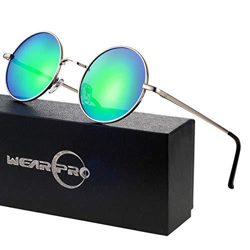 wearPro Retro Polarisiert Sonnenbrille Herren Damen Verspiegelt - Runde Retro Polarisierte Sonnenbrille Herren Damen Vintage (F-Linse:Grün,Gestell:Silber)