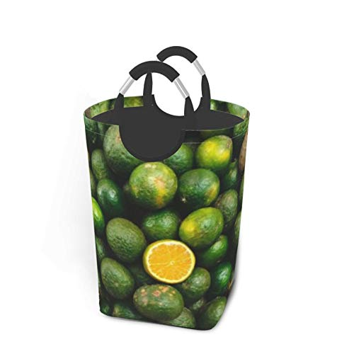 Hshbasket Laundry Basket Green Oranges Laundry Hamper Freestanding Large Collapsible Dirty Clothes Hamper with Handles for Laundry