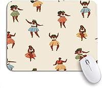 ECOMAOMI 可愛いマウスパッド ノートパソコン、マウスマット用のパターンハワイダンスの女の子がウクレレを演奏し、フラダンスを滑り止めゴムバッキングマウスパッド