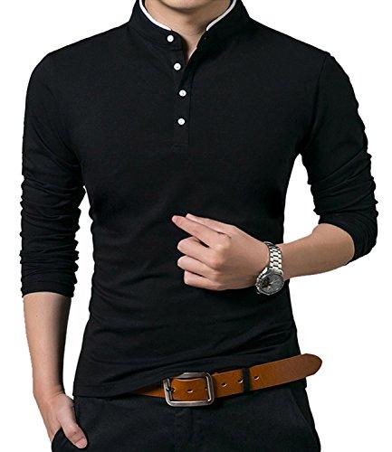 KUYIGO Men's Casual Slim Fit Shirts Long Sleeve Polo Shirts Large Black