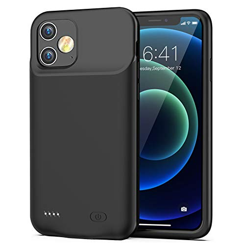 Battery Case for iPhone 12 Mini, 6000mAh Slim Protective Portable Charging Case Rechargeable Extended Battery Pack for iPhone 12 Mini (5.4 inch) Charger Case (Black)