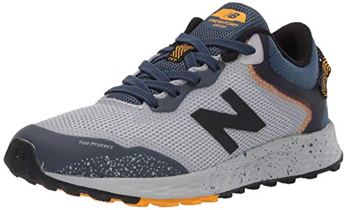 New Balance Boys' Arishi Trail V1 Fresh Foam Running Shoe, Light Aluminum/Stone Blue, 5 M US Big Kid