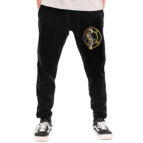 Mens Jogger Sweatpants Firefighter Fire Dept Gear Check First Responder Elastic Waist Pajama Pants with Pockets Black