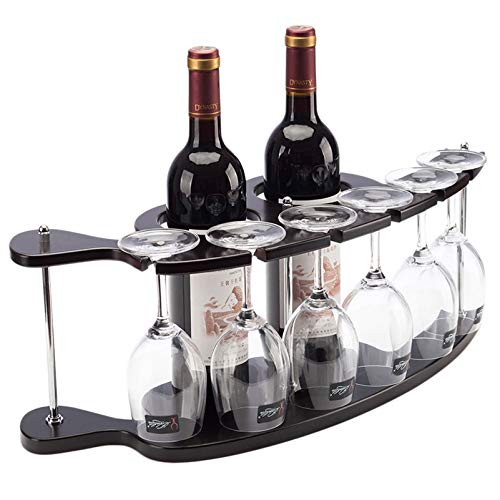 Estantes de Vino de Mesa de Lujo nórdico, Estante de decoración de Hierro Forjado, Tiene Capacidad para 2 Botellas y 6 Vasos, Organizador de estantes para Copas, Negro Satinado