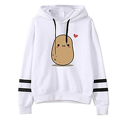 Goddesslili Womens Tops, Cute Cartoon Potato Print Loose Long Sleeve Striped Sweatshirt White Blouses for Girls Ladies Casual Office Wear, 2019 New Back to School Supplies by AMB-01