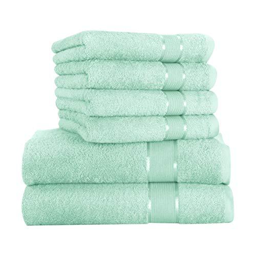 Mixibaby - Juego de toallas (6 unidades) 4 toallas de mano de 50 x 100 cm, 2 toallas de ducha de 70 x 140 cm, 100% algodón, algodón, verde menta, 70 x 140 cm