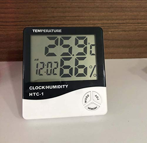 HTC Digital Hygrometer Thermometer Humidity Meter with clock Big LCD Display HTC-1 by Supreme Traders Supertronics1989