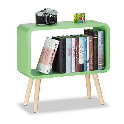 Relaxdays staande kast klein nachtkastje zonder lade voor kinderkamer, hout, groen, 20 x 53 x 50 cm