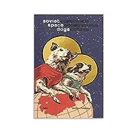 動物のポスター素敵なソビエト宇宙犬ヴィンテージキャンバスポスター寝室の装飾スポーツ風景オフィスルームの装飾ギフトキャンバスポスター壁アートの装飾リビングルームの寝室の装飾のための絵画の印刷 24x36inch(60x90cm)