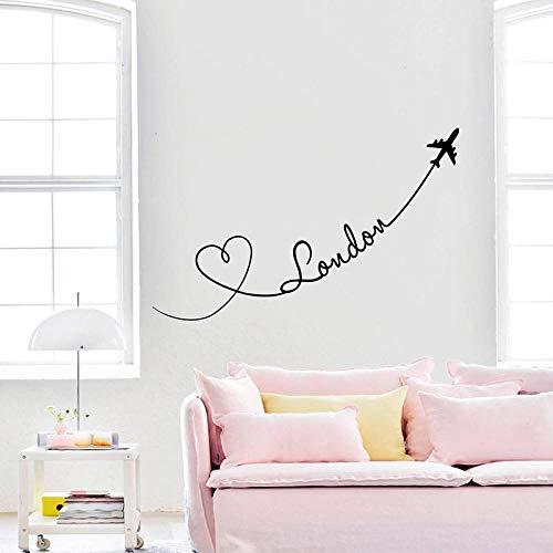 Terilizi London Muursticker Vliegtuigen Harten Liefde Reizen Vinyl Stickers Huisdecoratie Woonkamer Decoratie muurschildering Vinyl Slaapkamer-13X57Cm