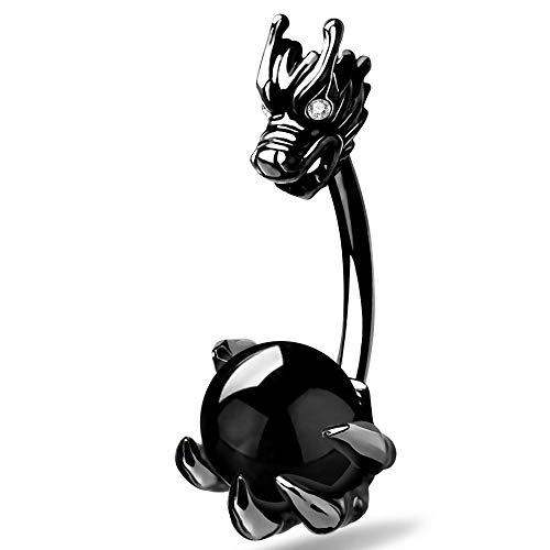 OUFER - Piercing per Ombelico da 14 g, con Testa di Drago e Artiglio, in Acciaio Inox 316L