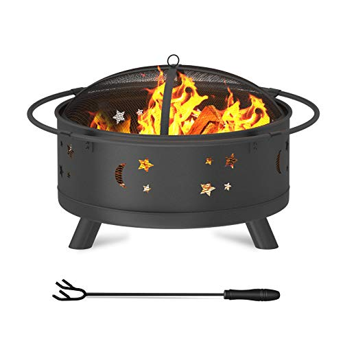 "WINWEND Fire Pit, 30"" Firepit Outdoor Wood Burning for Patio & Backyard with Spark Screen and Fireplace Poker (Stars & Moons Design)"