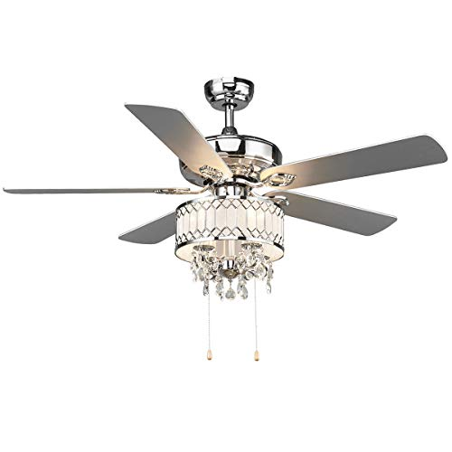 """Tangkula 52"""" Ceiling Fan with Lights, Classical Design Crystal Ceiling Fan with Pull Chain Control, Elegant Modern Ceiling Fans with Chandeliers 5 Iron Reversible Blades, Metal Cover, Mute Motor (Silver)"""