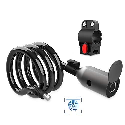 Fahrradschloss Fingerabdruck, Anweller Kabelschloss wasserdicht tragbar mit Fahrradschlosshalter, Smart Lock mit 20 Fingerabdrücke aufzeichnbar, Diebstahlsicherung aus 12mm Stahldraht (Schwarz01)