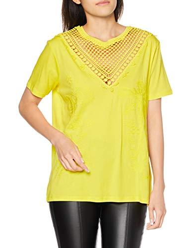 Desigual TS_Tropic Thoughts Camiseta, Amarillo (Blazing 8035), Small para Mujer