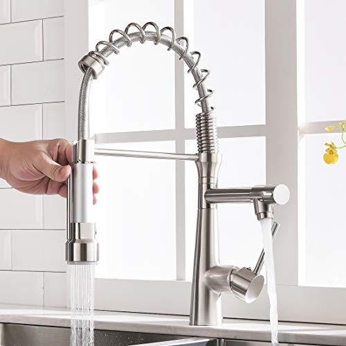 Timaco - Grifo de cocina con muelle en espiral, grifo y ducha extensible, orientable 360°, níquel cepillado, monomando, grifo mezclador y pulverizador para despertar