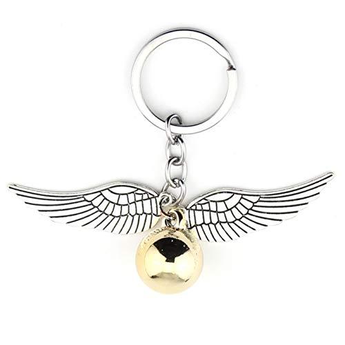 Xssbhsm Llaveros Personalizados Llavero Pendiente de Snitch Golden Bohemia Estilo Vintage Angel ala Encanto Llavero para Mujer Llavero (Color : White)