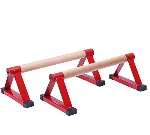 Wooden Triangle Parallettes for Calisthenics, Gymnastics, Yoga, Hand Stand Bars, Press up Handles 50×17×11cm,Red