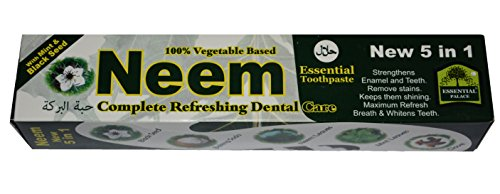 Neem 5 in 1 Active Formula Toothpaste 6.5 oz with Mint. 100% Vegetable Base.